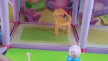 乔治放学回家呢,看到楼上的大果冻,赶紧叫来猪爸帮自己拿!