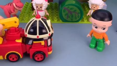 大头儿子说话吞吞吐吐,小警车发现了怪兽,小警车变身降服怪兽
