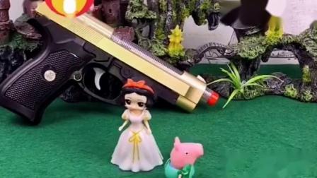 白雪公主被怪兽拦住了,乔治用乐高玩具吓唬怪兽,白雪公主夸乔治