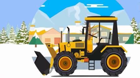 宝宝工程车 组装一辆铲车去清理路面积雪.avi