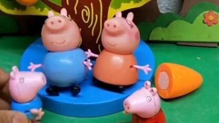 猪妈妈猪爸爸在家做饭,佩奇回家看到就要帮忙,乔治回家要干啥?