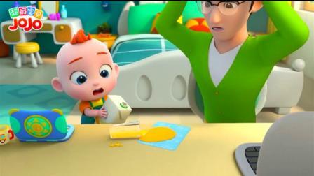 《超级宝贝JOJO》小宝宝看见爸爸动作很辛苦!