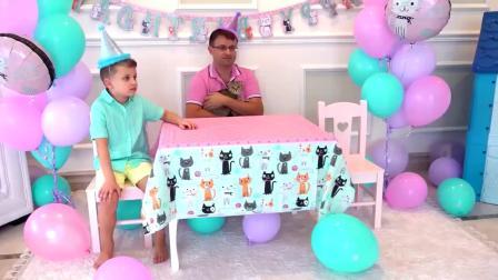 国外儿童时尚,小女孩给猫咪过生日,快来看看吧