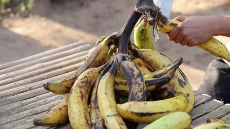 大串香蕉挂满树,摘香蕉都把菲律宾姑娘给累坏了,连根熟的就是香甜