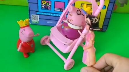 猪爸爸坐着婴儿车让猪妈妈推,猪爸爸要怀念小时候