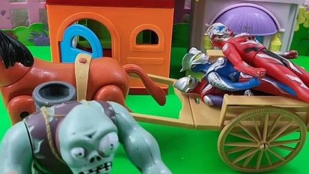 巨人僵尸抓了奥特曼,儿子把他们悄悄放跑了