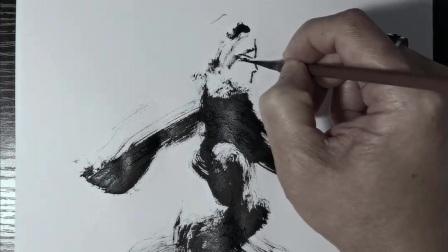 潘俊宏艺术家【京剧系列-1】毛笔速写素描步骤教程…欢迎提问交流