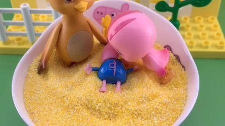 乔治藏起来,以为没人发现,不料被朵朵小萌鸡发现了