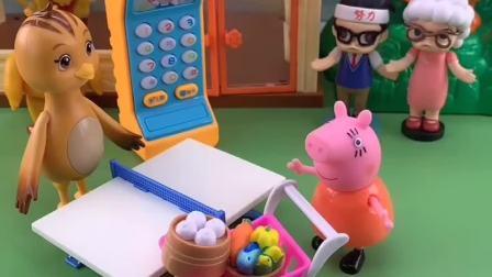 猪妈妈带乔治逛超市买菜,不料自己回家,把乔治落超市