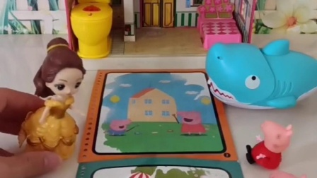 小猪佩奇乔治玩水画册,贝儿公主来搞破坏,把水喷在画册上