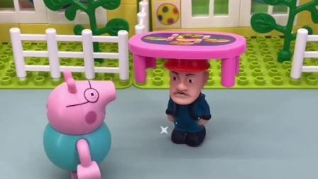 帽子好好看啊,光头强戴上来了,乔治也想戴
