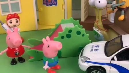 小猪佩奇玩滑梯,叫乔治一起玩,不料僵尸来找佩奇乔治