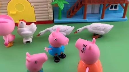 鸡妈妈带孩子们去游乐园,在路上遇到了乔治佩奇一家,他们都想去游乐园