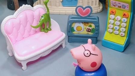 老师给猪爸爸打电话,猪爸爸回家教育乔治
