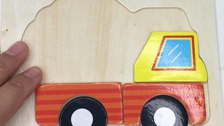 木质智力装土车拼图