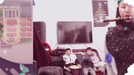 黄静珍首次与两孩子合奏《梦里水乡》2021-1-9