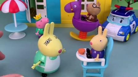 小兔理查德肚子饿了,兔妈妈让乔治照顾理查德,乔治答应了兔妈妈