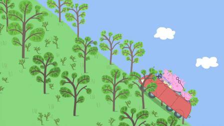 小猪佩奇:猪爷爷等不及了,推着小车找爸爸,在马路边上吃午餐!
