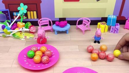 猪妈妈让佩奇和乔治摆放糖果,小朋友们觉得, 谁摆的最好看呢?