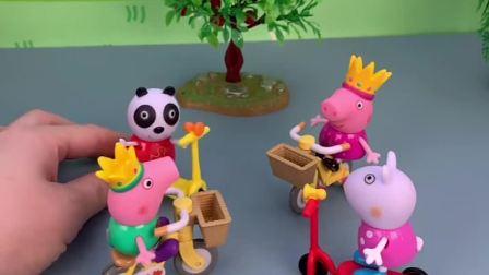 乔治佩奇想玩转转乐,可是玩具去哪了,被他给拿走了