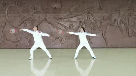 中国老体协2020版柔力球D组难度动作《后导横拍水平绕翻》