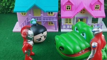 童年趣事:爷爷教训欺负葫芦娃的鳄鱼