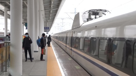 2021年3月31日,G584次(武汉站-宁波站)本务中国铁路武汉局集团有限公司武汉动车段武汉动车运用所CRH380AL-2586六安站进站