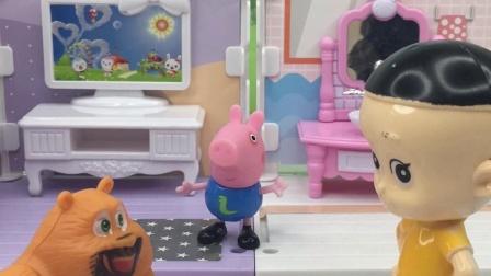 大头和熊二邀请乔治一起踢球,乔治很开心