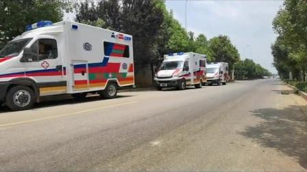 救护车120依维柯方舟救护车从厂家列队出发服。保我大中国国民子孙后代平平安安