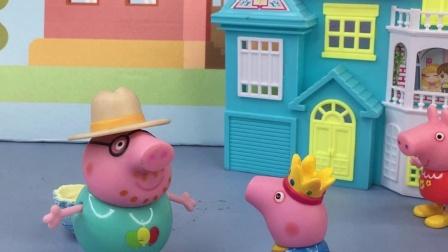乔治看到了猪爸爸在偷吃蛋糕
