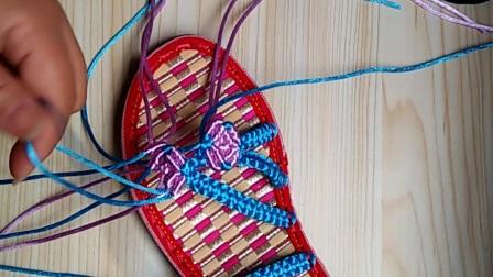 手工编织视频三朵小红花的编法