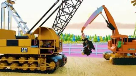 工程车视频 吊车挖掘机洒水车和收割机工作视频.avi