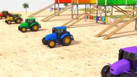 汽车玩具:小拖拉机组团到海滩染上自己喜欢的颜色.avi
