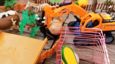 宝宝工程车 挖掘机翻斗卡车在农场运水果.avi