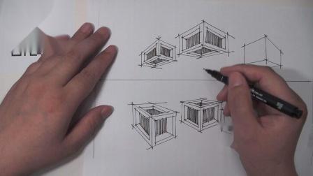 罗丹手绘——两点透视开窗练习