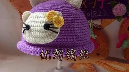纯手工编织卡通小猫造型儿童秋冬款帽子