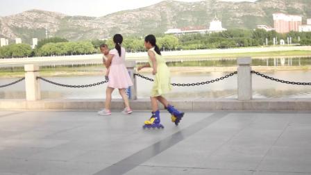 辽宁朝阳大凌河附近的滑旱冰女孩