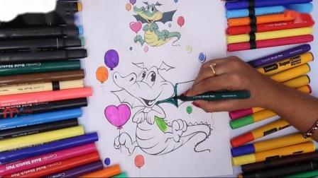 如何为孩子着色龙动物染色页我的孩子押韵