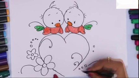如何用彩色标记画爱鸟和着色心我的孩子们押韵