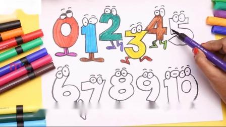 如何用蜡笔画出1到笑脸数字为孩子们学习颜色我的孩子们押韵
