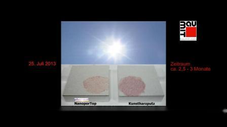 纳米饰面砂浆与普通饰面砂浆自清洁效果对比