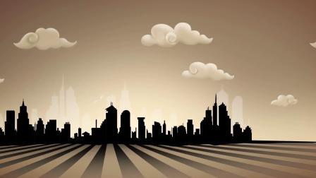 暗色卡通城市剪影舞台背景视频
