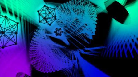 超炫七彩几何线条动感舞台背景视频