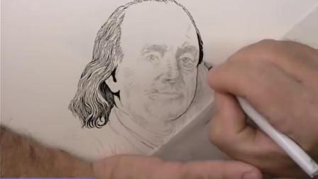 Scratchboard Drawing of Benjamin Franklin