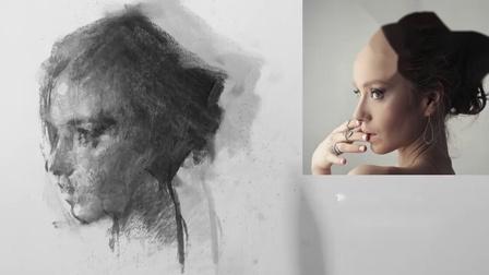 Charcoal Study- Mini Portrait. by Zin Lim