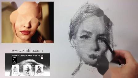 Zin Lim - Drawing portrait in charcoal.