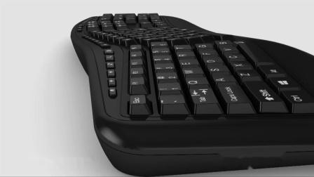 Adesso Tru-Form 3500 2.4 GHz Wireless Ergonomic Trackball Keyboard