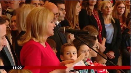 11月13日克罗地亚总统为国家队颁奖