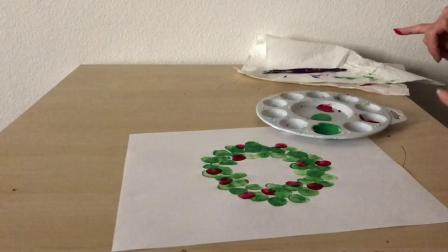 英文棒棒堂 手工圣诞花环 2 指印 Christmas Wreath