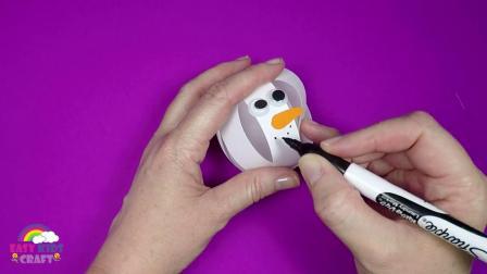 英文棒棒堂 手工圣诞雪人 How to Make a Paper Snowman Bauble  Christmas Craft for Kids
